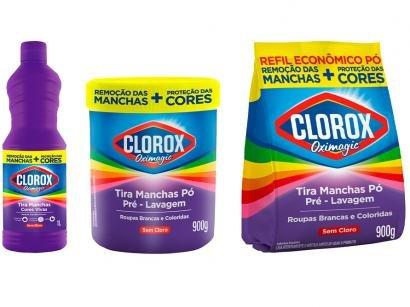 Kit Tira Manchas Clorox Oximagic Pré-Lavagem em Pó - sem Cloro 900g + Refil 900g + Cores Vivas 1L