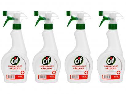 Kit Limpador Multiuso Cif Higienizador + Álcool - 500ml 4 Unidades
