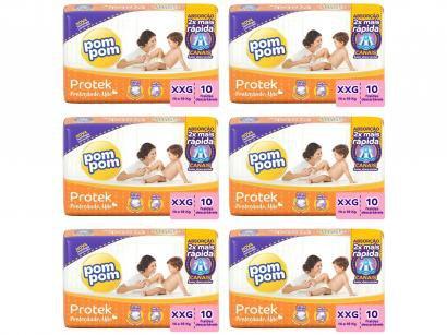 Kit Fraldas Pom Pom Protek Proteção de Mãe - Jumbinho SXG 6 Pacotes com 10 Unidades Cada
