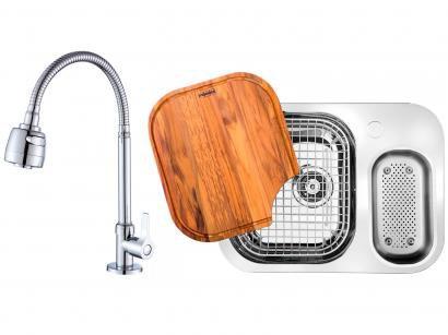 Cuba para Cozinha Franke Dupla Aço Inox de Embutir - Retangular 62,5x50cm + Torneira para Cozinha