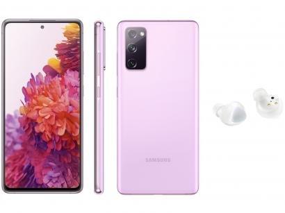 Smartphone Samsung Galaxy S20 FE 256GB Cloud - Lavender + Fone de Ouvido Bluetooth Galaxy Buds+