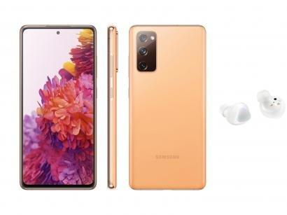 Smartphone Samsung Galaxy S20 FE 256GB Cloud - Orange + Fone de Ouvido Bluetooth Galaxy Buds+