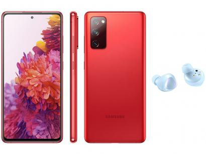 Smartphone Samsung Galaxy S20 FE 256GB Cloud Red - 8GB RAM + Fone de Ouvido Bluetooth Galaxy Buds+
