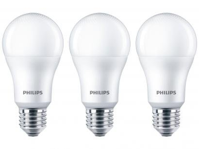 Kit Lâmpadas LED 3 Unidades Branca E27 9W - 6500WK Philips Bulbo