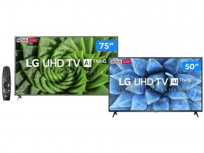"Combo Smart TV 4K LED IPS 75"" LG 75UN8000PSB - Wi-Fi + Smart TV UHD 4K LED 50"" Wi-Fi Bluetooth"