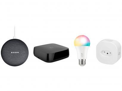 Smart Speaker Google Nest Mini 2ª Ger. + Controle - Inteligente + Adaptador de Tomada + Lâmpada Smart