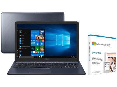 Notebook Asus VivoBook X543UA-GQ3430T Intel Core - i3 256GB SSD + Microsoft 365 Personal 1TB