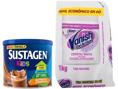 Kit Complemento Alimentar Infantil Sustagen Kids - Chocolate 380g + Tira Manchas Vanish 1Kg
