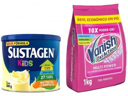 Kit Complemento Alimentar Infantil Sustagen Kids - Baunilha 380g + Tira Manchas Vanish Oxi Action 1kg