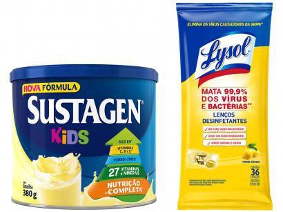 Kit Complemento Alimentar Infantil Sustagen Kids - Baunilha 380g + Lenços Desinfetantes Lysol