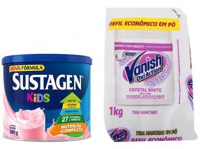 Kit Complemento Alimentar Infantil Sustagen Kids - Morango 380g + Tira Manchas Vanish Oxi Action 1kg