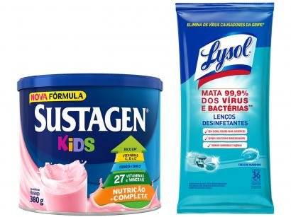 Kit Complemento Alimentar Infantil Sustagen Kids - Morango 380g + Lenços Desinfetantes Lysol