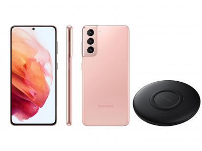 Smartphone Samsung Galaxy S21 128GB Rosa 5G - 8GB RAM + Carregador sem Fio Carga Rápida