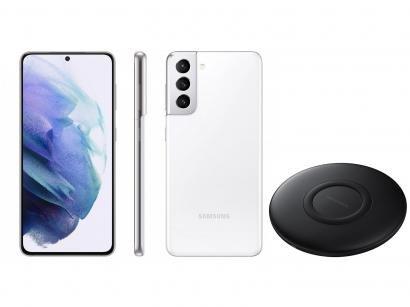 Smartphone Samsung Galaxy S21 128GB Branco 5G - 8GB RAM + Carregador sem Fio Carga Rápida