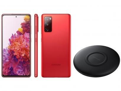 Smartphone Samsung Galaxy S20 FE 128GB Cloud Red - 6GB RAM + Carregador Portátil sem Fio 10000mAh