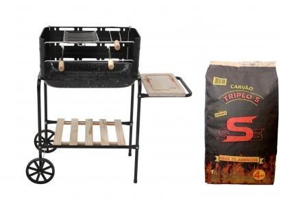 Kit Churrasqueira à Carvão Mor Califórnia - com Grelha + Carvão Vegetal Triplo S 4kg