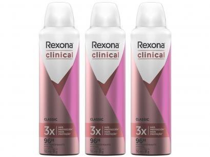 Kit Desodorante Rexona Aerossol Antitranspirante - Feminino Clinical Classic 150ml 3 Unidades