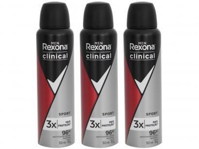 Kit Desodorante Rexona Clinical Aerossol - Antitranspirante Masculino 150ml 3 Unidades