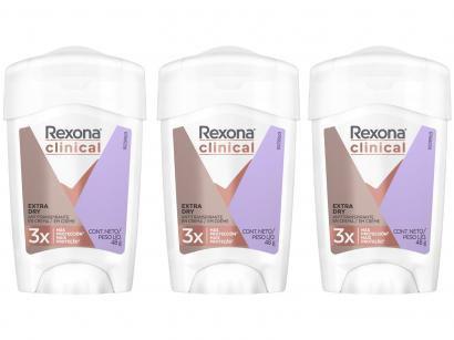 Kit Desodorante Antitranspirante Feminino - Rexona Clinical Extra Dry 48g 3 Unidades
