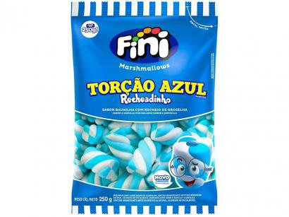 Marshmallow Recheado Fini Torção Azul e Branco - Recheio de Groselha 250g
