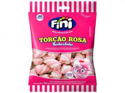 Marshmallow Recheado Fini Torção Rosa e Branco - Recheio de Morango 250g