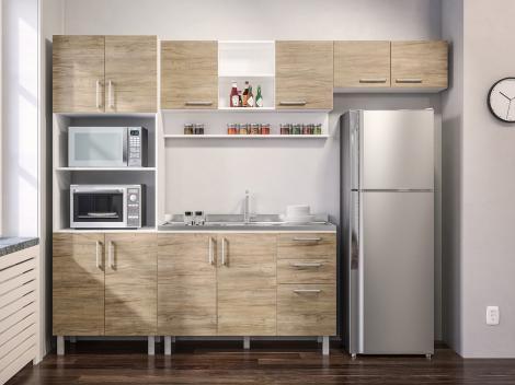 Cozinha Completa Politorno Floripa com Balcão - Nicho para Micro-ondas 10 Portas 3 Gavetas