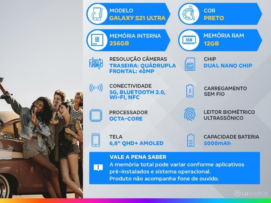 "Smartphone Samsung Galaxy S21 Ultra 256GB Preto 5G - 12GB RAM Tela 6,8"" Câm. Quádrupla + Selfie 40MP"
