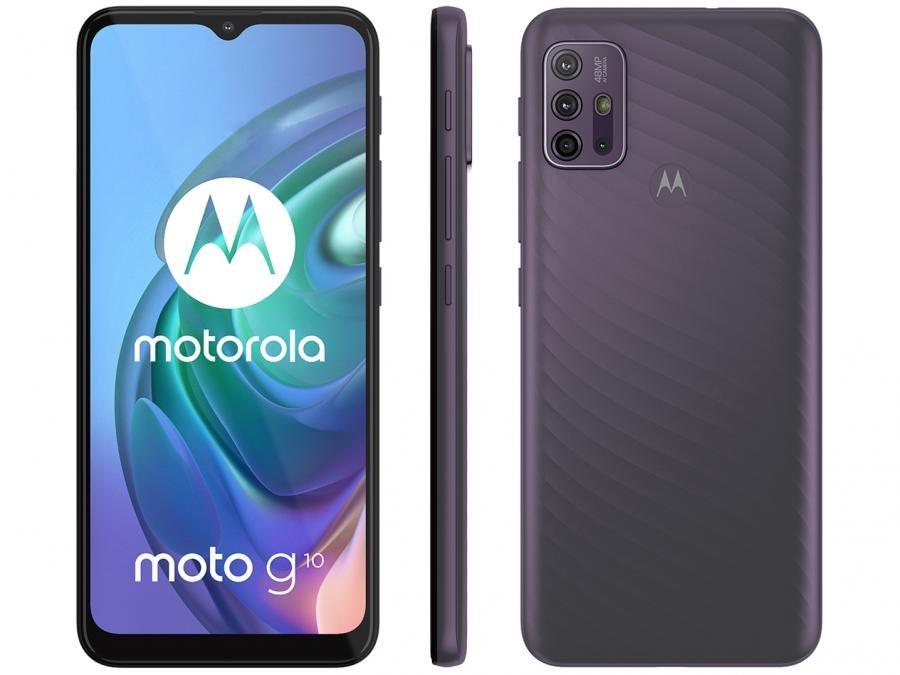 "Smartphone Motorola Moto G10 64GB Cinza Aurora - 4G 4GB RAM Tela 6,5"" Câm. Quádrupla + Selfie 8MP"