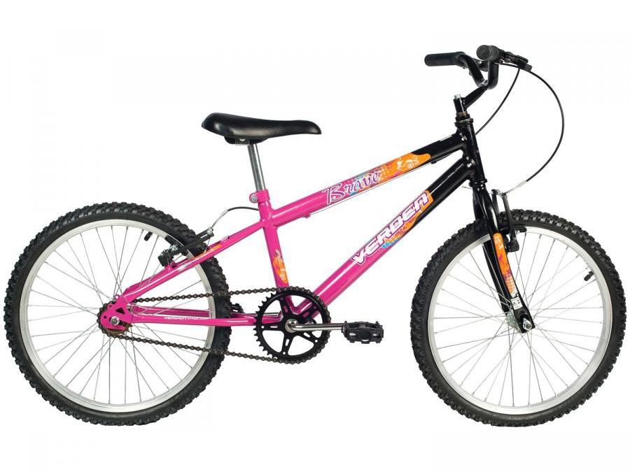 b1656fad6 Magazine Luiza · Bicicleta Infantil Aro 20 Verden Brave - Preta e Pink  Freio V-